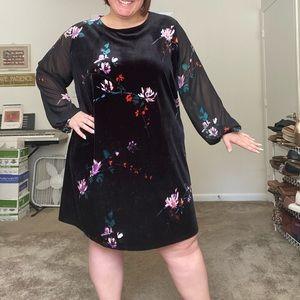 Ava & Viv plus size velvet dress w/ sheer sleeves